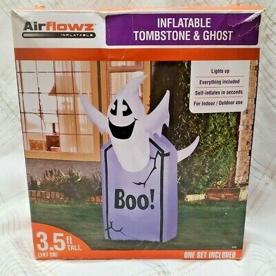 """HALLOWEEN AIRFLOWZ INFLATABLE LED 3.5 Ft """"BOO"""" GHOST & TOMBSTONE INDOOR/OUTDOOR"""