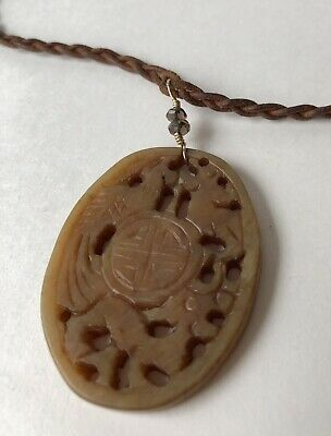 Chinese Vintage Brown Jade Pendant Prosperity Character Phoenix Dragon Necklace