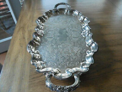 Gorgeous Heavy Vintage English Silver Plate MFG CORP Serving Tray Made in USA