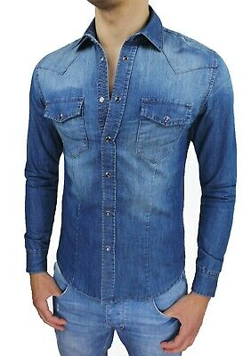 CAMICIA JEANS UOMO DIAMOND SLIM FIT CASUAL DENIM CON BOTTONI GIOIELLO da S a XXL