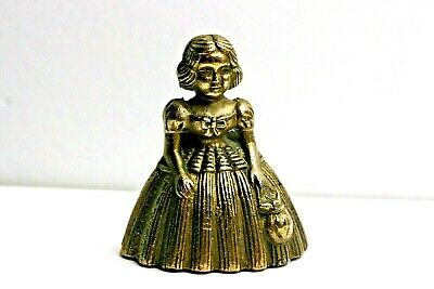 """Antique Brass Dinner Bell Victorian Lady Girl with Purse  3.25"""" Tall"""