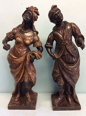 "Pair Hand Carved Blackamoor Figures, 19.25"" Tall, 19th Century"