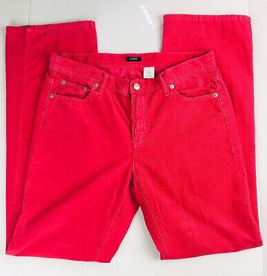 J. CREW Women's 6 Corduroy Pants Stretch Hot Pink Straight Leg EUC