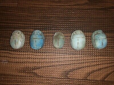 Five ( 5 ) Large Antique Egyptian Carved Stone Faience Scarab Beads Pendants