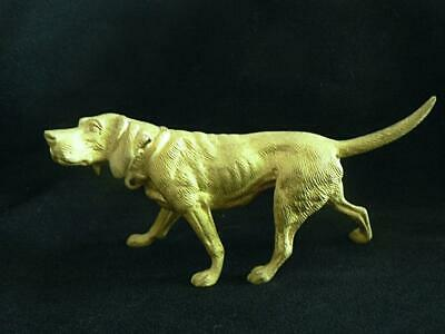Gilt Vienna Bronze Cold Painted Hunting Dog Hound Signed Stefan Buchinger Stb