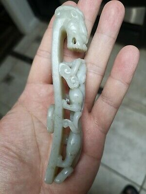 Philip's Carmel Old Estate Chinese 12cm Jade Dragon/Son Buckle Asian China