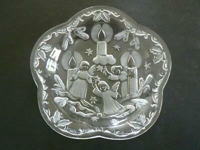 "Vintage 8""  Mikasa Frosted Angel Glass Candles Crystal Candy Nut Dish Christmas"