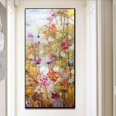"""HH542# 100% Hand-painted oil painting Lotus pond in late autumn Unframed 24""""x48"""""""