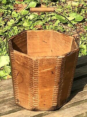 Small Antique Primitive Wooden Pail Bucket—Octagon Shaped—Finger Jointed Corners