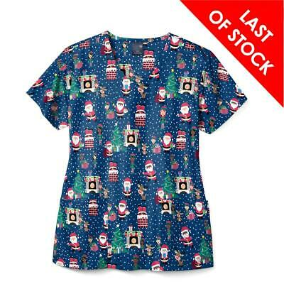 Christmas Scrubs Print, Womens Printed Nurse Top - Night Before Xmas Design