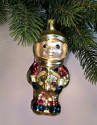 Thuringian christmas tree glass decoration - Astronaut gold - Made in Germany
