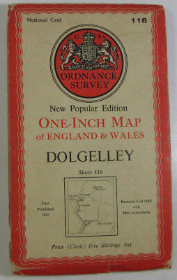 1947 Old OS Ordnance Survey One-inch New Popular Editoin CLOTH Map 116 Dolgelley