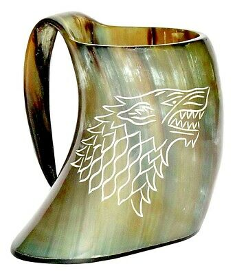 Game Of Thrones Stark Sigil Wolf Viking-Drinking Horn Mug Cup-Beer Wine Mead Ale