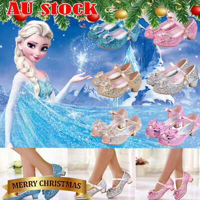 ✅Kid Girls Frozen Princess Elsa Dress Up Party Sandals Sequin Glitter Shoes Size