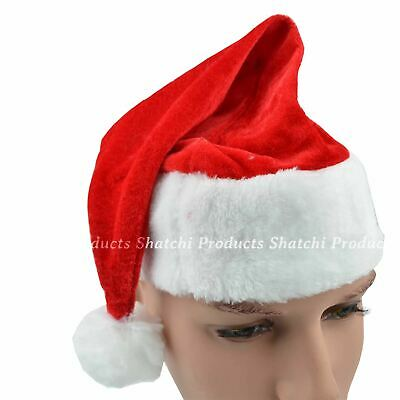 100 Premium Quality Father Christmas Santa Hat Fancy Dress Party Costume Supply