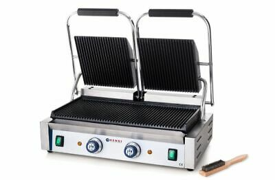 Hendi Griddle Doppelausführung Grooved Panini Grill Table Barbecue Electric