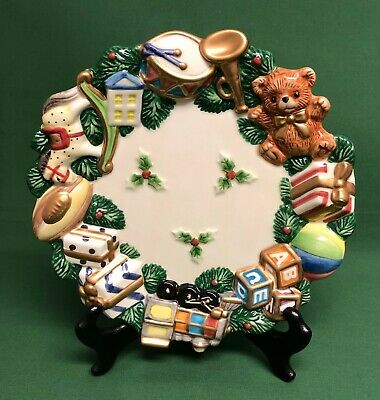 """Fitz And Floyd Essentials Christmas Plate Canape Dish 8 1/2"""" Diameter"""