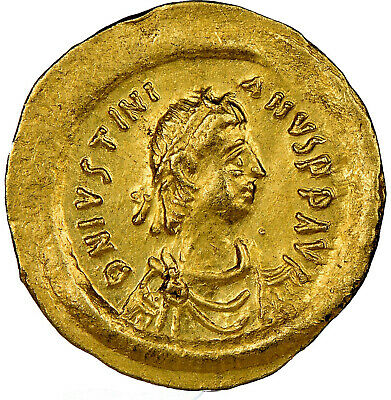 Byzantine Gold Tremissis Justinian I the Great AV 527-565 AD Certified NGC AU