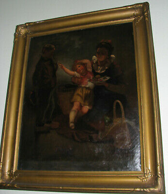 Old Master Dutch Genre Oil Painting Mother With Children