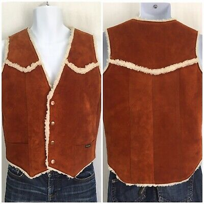 Vintage Wrangler Brown Suede Sherpa Lined Snap Rancher Vest Chest 38 Unisex