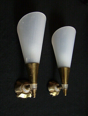 PAIR VINTAGE RETRO French wall lights, sconces, mid century .