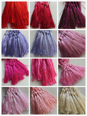 10 - 100 Large Silky Tassels 29 Colours 8cm Jewellery/Cushion/Craft/Frills