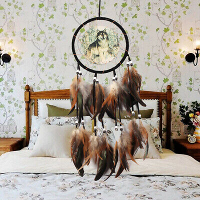 Brown Dream Catcher With feathers Wall Hanging Decoration Decor Ornaments Wolf