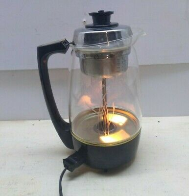 Proctor Silex Electric Mary Lighted Starburst Glass Coffee tea Percolator
