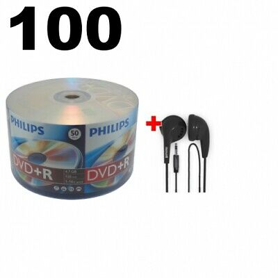 100 Philips 16X DVD+R 4.7GB (Philips Logo on Top) & FREE Maxell Earbud