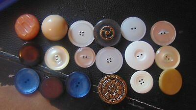 "Vtg Large Buttons Crafts Coats-Sew 7 Shank-11 Flat-Metal-Plastic-MOP-1""-1 1/2"""