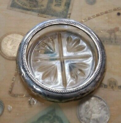 Vintage FB Rogers Silver Co, Sterling Silver & Glass Ashtray