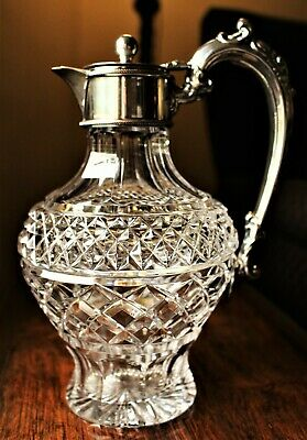 Late Victorian English Cut Crystal Claret Jug with Silver Plated Mounts c. 1895