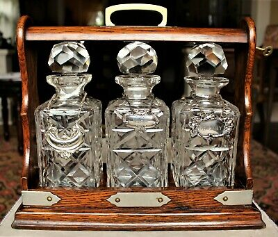 Victorian Oak 3 Cut Crystal Decanter Tantalus Mounted with Silver-plate c. 1880