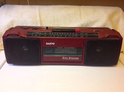 Vintage Red Sanyo M7024A Boombox AM/FM Stereo Cassette Player