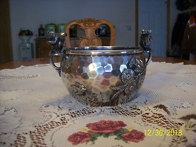 Meriden B. Company Quadruple Plate Silverplate Squirrel Nut Bowl Bird & Floral