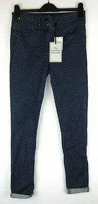 NEXT Womens Super Skinny Stretch Jeans Dark Blue Polka Dot Rockabilly High Waist