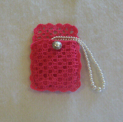 Filet Crochet Watermelon Pink with Dark Pink Lining Rosary Jewelry Pouch Case