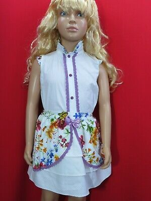 Babylis Spanish summer girls white shirt & floral a-line skirt age 6 Years Anos