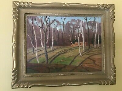 """Slender Trees"" - Original Oil Painting by Canadian Artist George Thomson b 1868"