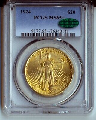 1924 PCGS MS65+ $20 Gold St Gaudens Double Eagle CAC