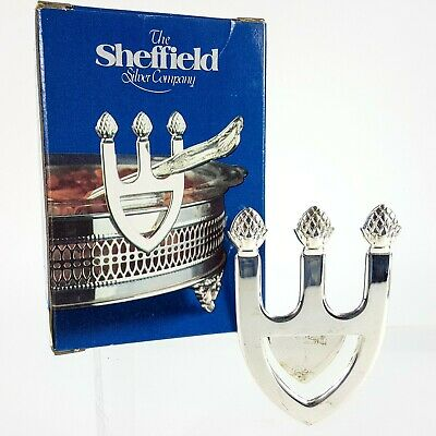 Sheffield Silver Plated Casserole Bowl Serving Spoon Rest Italy Elegant Table