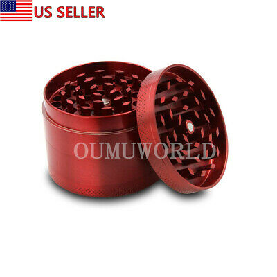 Tobacco Herb Spice Grinder Tobacco Smoke Cigar Crusher Small Metal 4 Layer Red