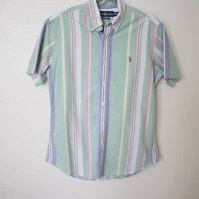 RALPH LAUREN Multi-Colored Striped, Short Sleeve, Button Down Shirt, Size M
