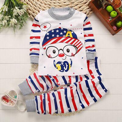 Autumn Kid Baby Boy Girl Cartoon Printed Clothes Shirt Tops + Pants Outfit Set