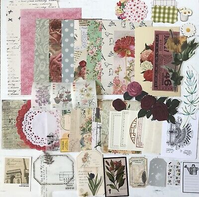 Botanical Themed Vintage Junk Journal Pack, Bits And Pieces Pack, Mini Kit