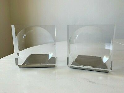 Mid Century Modern Clear Lucite Metal Block Optic Circle Bookends MCM EXC