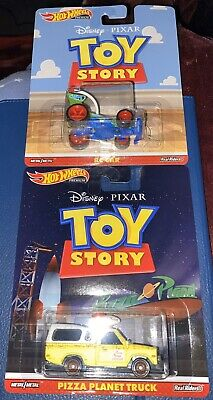 2019 Hot Wheels Premium Toy Story RC Car and Pizza Planet Truck Lot Of 2