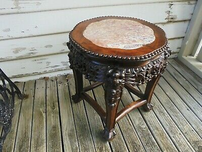 ANTIQUE CARVED CHINESE HONGMU ROSEWOOD MARBLE TOP STAND c1890