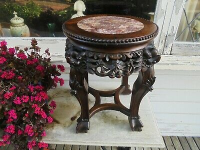 ANTIQUE CARVED CHINESE HONGMU ROSEWOOD MARBLE TOP STAND c1890 CODE2