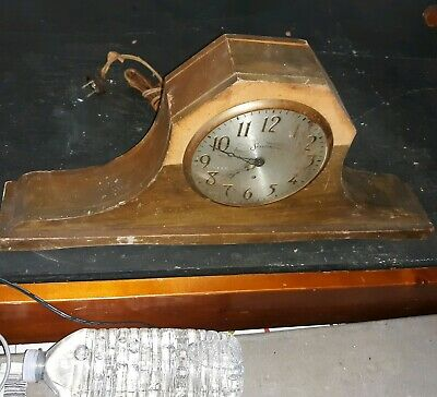 Antique clock Sessions Mantle old wood For Parts or Repair as is